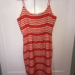 Size 10 J Crew Orange and White Sundress